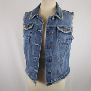 Baccini Embroidered Denim Vest Size M Hand Painted